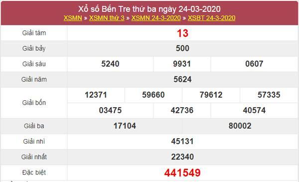 Thống kê XSBTR 31/3/2020 - Xổ số Bến Tre hôm nay
