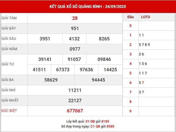 Soi cầu số đẹp XS Quảng Bình thứ 5 ngày 1-10-2020