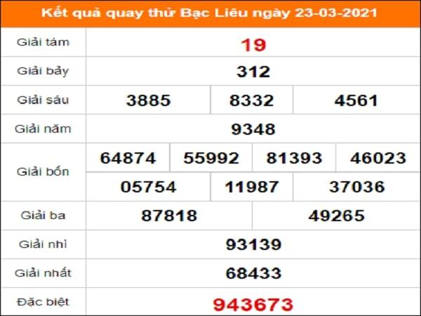 Quay thử xổ số Bạc Liêu ngày 23/3/2021